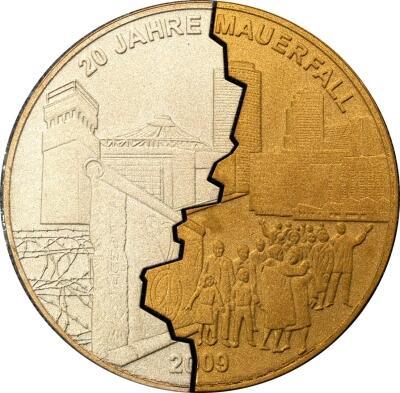 20 Jahre Mauerfall Geteiltvergoldet Staatliche Münze Berlin