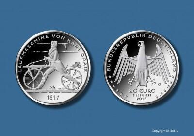 20 Euro Laufmaschine Von Karl Drais 1817 Staatliche Münze Berlin